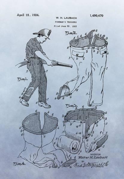 Digital Art - Fireman Trousers Patent by Dan Sproul