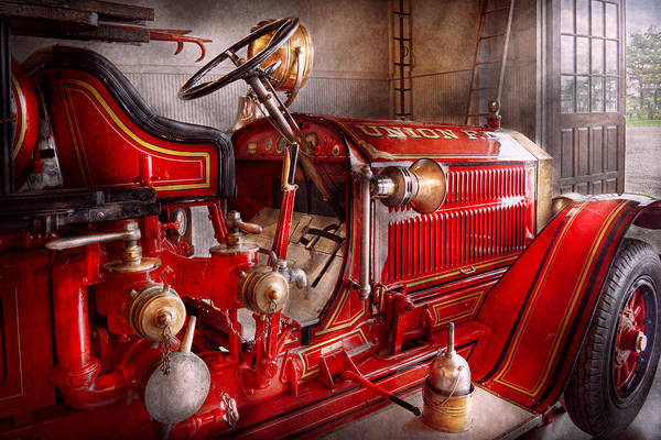 Zazzle Photograph - Fireman - Truck - Waiting For A Call by Mike Savad
