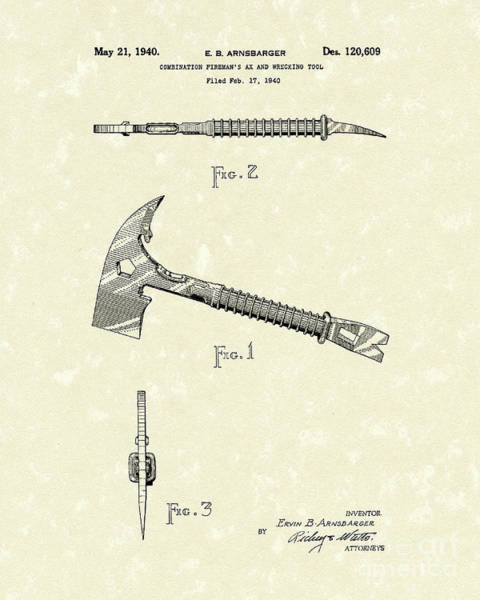 Drawing - Fireman's Axe 1940 Patent Art by Prior Art Design