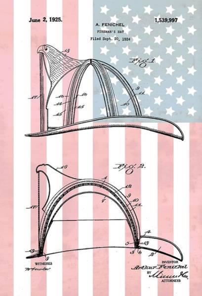 Drawing - Fireman's Helmet American Flag by Dan Sproul