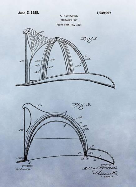 Digital Art - Fireman's Helmet Patent by Dan Sproul