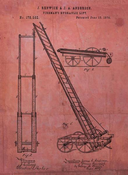 Mixed Media - Fireman's Hydraulic Lift Patent by Dan Sproul