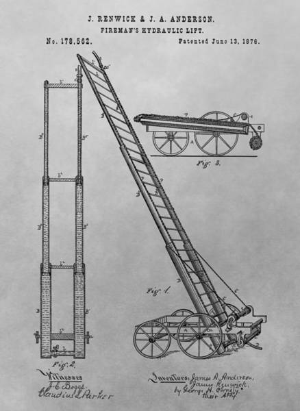 Drawing - Fireman's Hydraulic Lift Patent Drawing by Dan Sproul