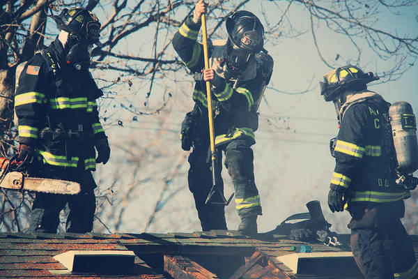 Guy Photograph - Firemen by Laurie Search