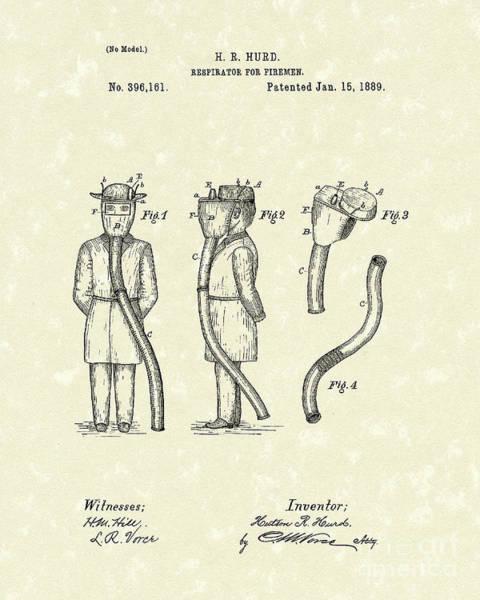 Drawing - Firemen Respirator 1889 Patent Art by Prior Art Design