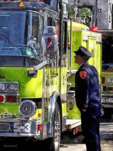 Photograph - Firemen Talking by Susan Savad