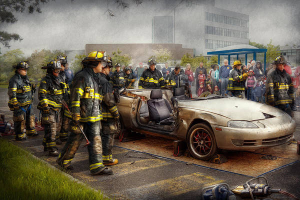 Photograph - Firemen - The Fire Demonstration by Mike Savad