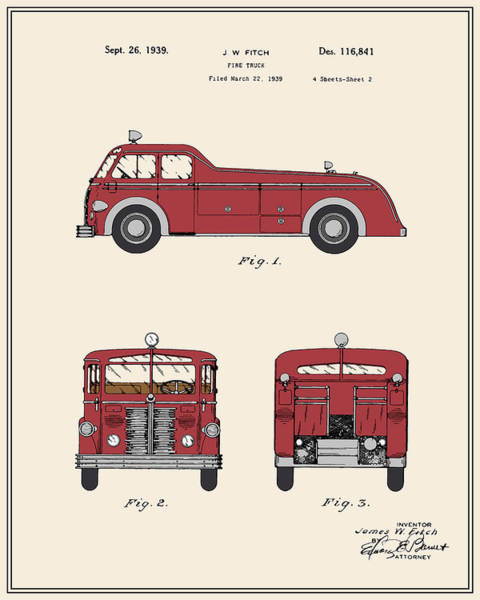 Truck Digital Art - Firetruck Patent - Colour by Finlay McNevin
