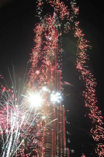 Photograph - Burj Khalifa Fireworks 3 by Dragan Kudjerski