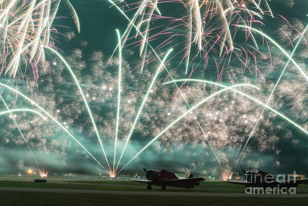 Color Burst Wall Art - Photograph - Fireworks And Aircraft by Paul Quinn