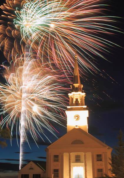 Rutland Photograph - Fireworks And Church Rutland Massachusetts by John Burk
