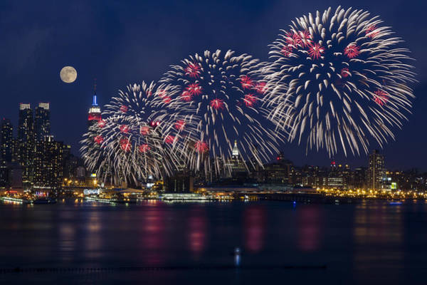 Photograph - Fireworks And Full Moon Over New York City by Susan Candelario