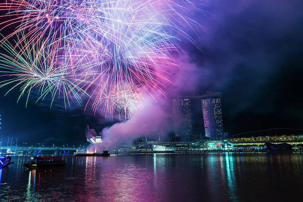 Chinese New Year Photograph - Fireworks, Chinese New Year, Marina by John Harper