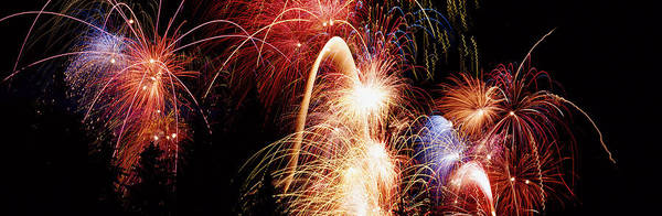 Color Burst Wall Art - Photograph - Fireworks Display, Banff, Alberta by Panoramic Images