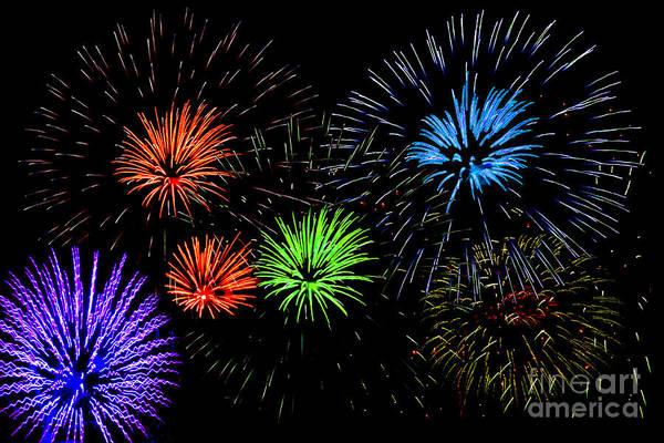 Photograph - Fireworks by Gunter Nezhoda