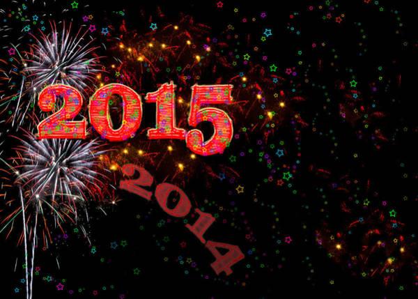 Wall Art - Digital Art - Fireworks Happy New Year 2015 by Marianne Campolongo