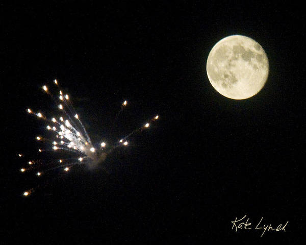 Photograph - Fireworks Moon by Kate Lynch