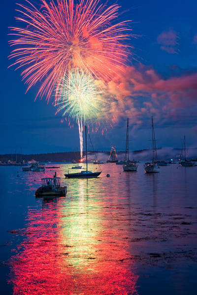 Photograph - Fireworks Over Boothbay Harbor by Darylann Leonard Photography