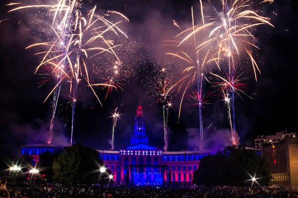 Photograph - Fireworks Over Denver City And County Building by Teri Virbickis