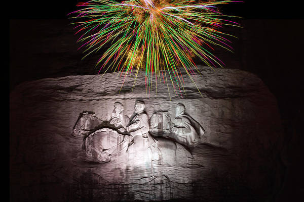 Photograph - Fireworks Over Stone Mountain by Penny Lisowski