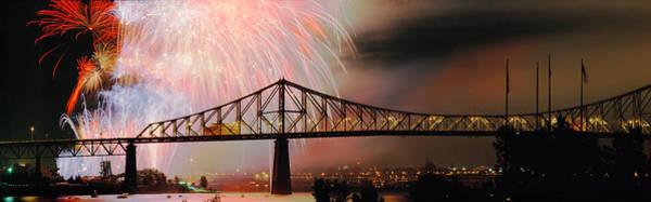 Jacques Photograph - Fireworks Over The Jacques Cartier by Panoramic Images
