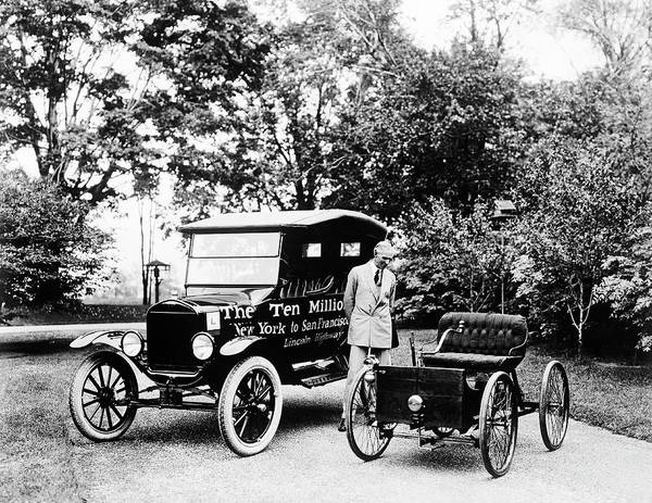 Ford Motor Company Photograph - First And Ten Millionth Ford Cars by Library Of Congress