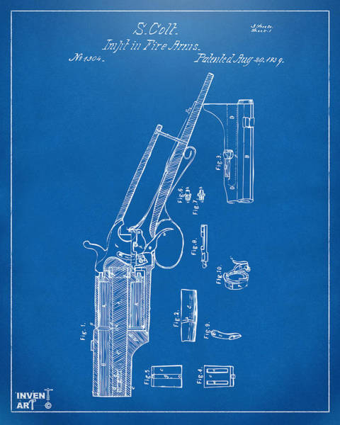 Digital Art - 1839 Colt Revolver Patent Artwork Blueprint by Nikki Marie Smith