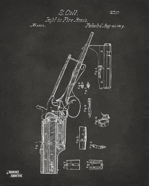 Wall Art - Digital Art - 1839 Colt Revolver Patent Artwork - Gray by Nikki Marie Smith