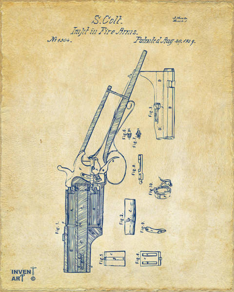 Digital Art - 1839 Colt Revolver Patent Artwork Vintage by Nikki Marie Smith