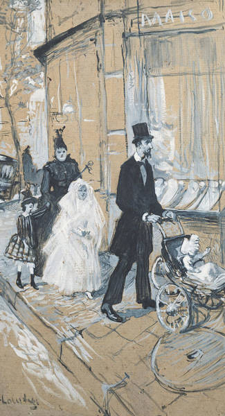 Top Hat Photograph - First Communion Day, 1888 Grisaille On Cardboard by Henri de Toulouse-Lautrec