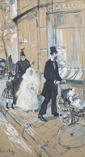 Dress Shop Photograph - First Communion Day, 1888 Grisaille On Cardboard by Henri de Toulouse-Lautrec