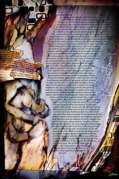 Sacred Heart Digital Art - First Corinthians 1 by Switchvues Design