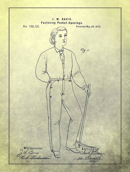 Male Model Drawing - First Denim Jeans Patent by Dan Sproul