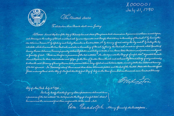 First Ever Us Patent For Potash Patent Art 1790 Blueprint by Ian Monk