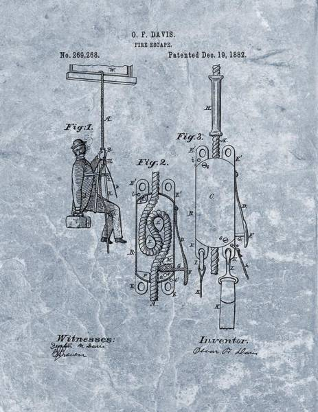 Drawing - First Fire Escape Patent by Dan Sproul