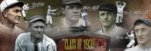 Baseball Hall Of Fame Photograph - First Five Baseball Hall Of Famers by Retro Images Archive