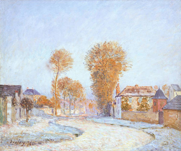 First Snowfall Wall Art - Painting - First Frost by Alfred Sisley