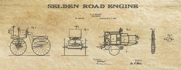 Wall Art - Digital Art - First Gas Automobile Patent Art Aged 1895 by Daniel Hagerman
