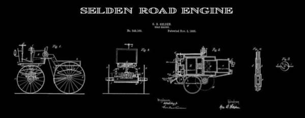 Wall Art - Digital Art - First Gas Automobile Patent Art Black 1895 by Daniel Hagerman
