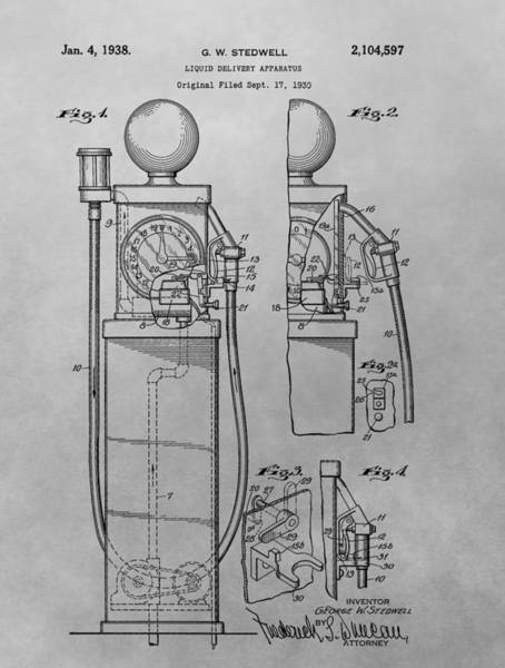 Gas Station Drawing - First Gas Pump Patent Drawing by Dan Sproul