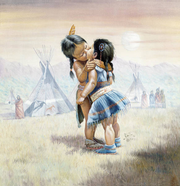 Sioux Wall Art - Painting - First Kiss by Gregory Perillo