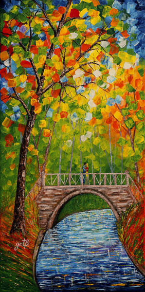 Painting - First Kiss On The Bridge Original Acrylic Palette Knife Painting by Georgeta Blanaru