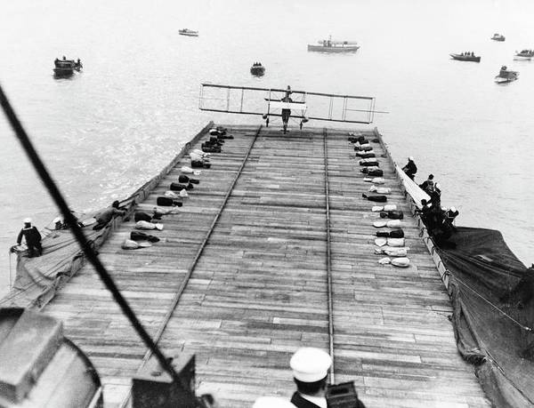 Flight Deck Photograph - First Landing Of Plane On A Ship by Us Navy/science Photo Library