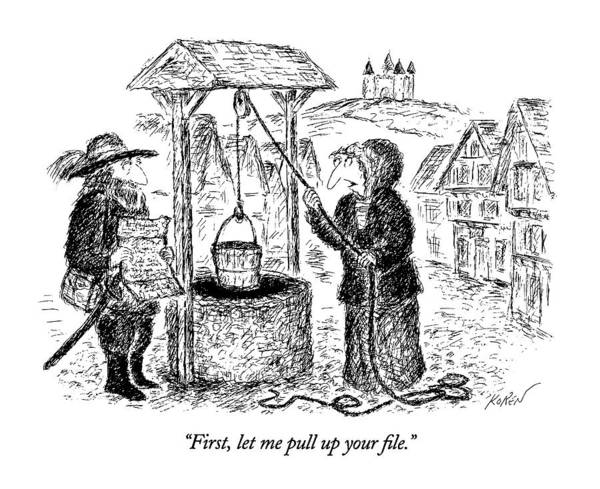 June 17th Drawing - First, Let Me Pull Up Your File by Edward Koren