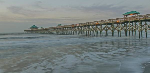 Low Battery Photograph - First Light At Folly Beach Pier   Charleston Sc by Willie Harper