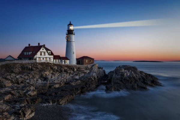 Photograph - First Light At Portland Head Light by Susan Candelario