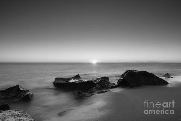 First Light Wall Art - Photograph - First Light At Sandy Hook Nj Bw by Michael Ver Sprill