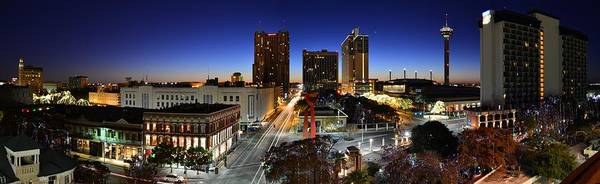First Light On San Antonio Skyline - Texas Art Print