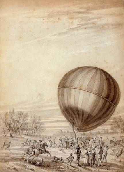 Jacques Photograph - First Manned Flight Of A Hydrogen Balloon by Library Of Congress/science Photo Library