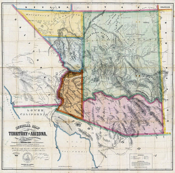 United States Territory Photograph - First Map Of Arizona Territory  1865 by Daniel Hagerman